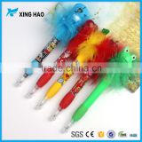 Promotional gift cute feather ball pen plastic ball clear feather fountain pen