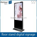 Flint Stone 55 inch floor standing usb flash drive scrolling text message and play log functions exhibition display lcd