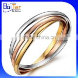 Mens And Womens Stainless Steel Tri Gold Bangle Bracelet Wholesale                                                                         Quality Choice