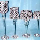 glass mosaic vase,glass mosaic candle holder ,glass hurricane craft