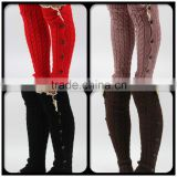 Girls warm knit elastic leg warmer high knee crochet leg warmer boots                                                                         Quality Choice