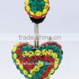 Crystal Belly Rings, with Stainless Steel and Polymer Clay, Round, Multicolor, Size: 27mm long(SWAR-G017-2)