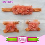 2016 Wholesale Various Orange Chiffon Headband Set Match Infant Bare Baby Shoes Fancy Girls Sandals Girl Hairband With Pearls