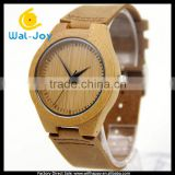 WJ-5356 genuine real leather band Japan movement wood face watch wood