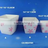 square flower pots fiberglass sqaure planter glazed color pots