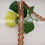 factory directly supply red covered wire golden elastic sequin braid lace