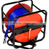 HAND CRANK AIR HOSE REEL , PU BRAID HOSE 8 X 12 MM (30M) WITH SWIVEL CONNECTOR (GS-1623L01)