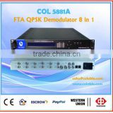 Free to air qpsk demodulator,fta satellite receiver to ip out for catv/iptv headend COL5881A