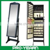 Floor Standing Wooden Mirror Jewellery Cabinet for Jewelry Storage Display and Dressing Make Up with Modern DIY Furniture Design