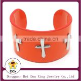 Religious Mens Jewelry Wholesale Stainless Steel Orange Genuine Cowhide Leather Braided Wrap Cuff Bangle With Christ Jesus Cross