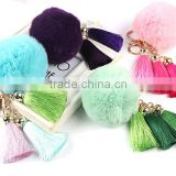 Rabbit Fur Pom Pom Keychain with Tassels for Lady Handbag/bag charm fur ball KZ160071                                                                         Quality Choice