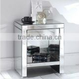 Antique glass three drawers mirrored side chest