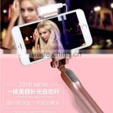 Luxurious led bluetooth selfie stick with wire and mirror for Android and iOS