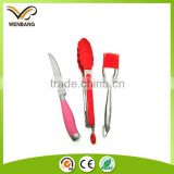 3pcs kitchen utensil silicone knife, tong, brush set