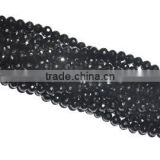 Str Black Spinel Faceted Roundel Gemstone Beads