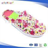 Flower printed back open rainbow color cushion women slippers white slipper
