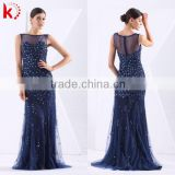 2014 new design slim fit women fashion Royal blue evening dress with leg slit see through tuller african evening dress pattern