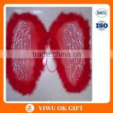 Red feather and polyester fairy wings to decorate, adult fairy wings, angle wing decoration