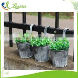 Home decor plant tub pots metal iron hanging decorative artificial flower pot balcony garden planter