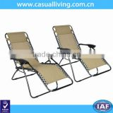 New 2 PCS Folding Zero Gravity Chair Lounge Patio Chairs with Cup Holder - TAN
