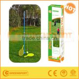 The blue metal pole tennis with tennis racket and tennis ball for training