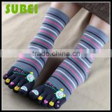 2015 Female warm five fingers socks,cotton and Happy Little Alarm Clock socks,Quiet and sweet