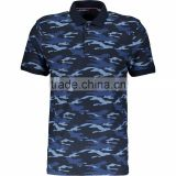 Fashion Tops Wear Men Regular Fit Blue Camouflage Polo Shirt with Button