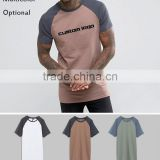 High Quality Cotton Blend Raglan Sleeves Extra Long Line Custom Men'S T Shirt Wholesale China