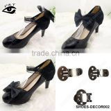 Black Clip-On Flower Bowknot and Lace Charm for Shoe Decoration Ornament with Metal Clip Shoe Accessories