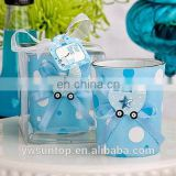Pretty Blue Glass Candle Holder Boy Baby Shower Decoration