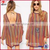 New arrival cut out back long sleeve stripe print vintage retro dress