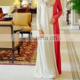 Abaya Muslim Long Sleeve High Quantity Fabric Contrast Color Long Gown
