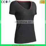 Lady's black t-shirt V neck tshirt With mini chest pocket (6 Years Alibaba Experience)