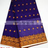 100% Cotton Fabric Purple Nigerian Dry Lace With Stones For Women
