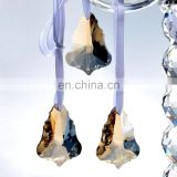Champagne Crystal Chandelier Rainbow Prisms Hanging Drops Maple Leaf Pendants