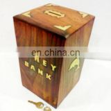 WOODEN PIGGY BANK LARGE SQUARE SHAPED 429