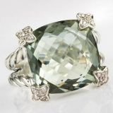Sterling Silver Jewelry 15mm Prasiolite Cushion on Point Ring(R-133)