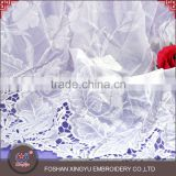 Wholesale micro fiber polyester water souble 120-125cm white guipure lace fabric for lady dress or curtain
