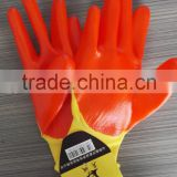 13 gauge yellow color polyester knitted pvc half coated oil resistant hand protective work gloves