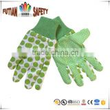 FTSAFETY 100% Cotton flower gardening glove with mini pvc dots for lady                                                                         Quality Choice