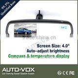 4.0 inch auto adjust brightness car reverse Rear view lcd Mirror Monitor with compass and temperature display