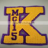 letter K custom embroidery chenille patches,letter or number custom embroidery chenille patches