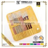 Hot Selling 13Pcs Different Shapes Nylon Bristle Wooden Handle Artist Paint Brush Set With Bag