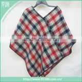 2016 warm women fashion plaid wholesale winter knit acrylic Poncho                                                                         Quality Choice