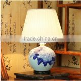 Blue and white ceramic vase pony flower painting chinese bedside table lamps                                                                         Quality Choice