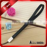 black genuine leather hand strap for mobile phone ,USB