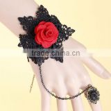 Handmade women lace wristband black lace hand bracelet with ring attached