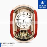 Plastic Case Pendulum Clocks With Tulip And Crystal Butterfly Ornaments Using 18 Music Sweep Quartz Mechanisms For Clocks
