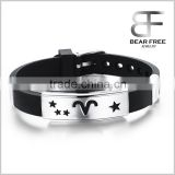 Men's Women's Stainless Steel Silicone Zodiac 12 Constellations Adjustable Buckle Bracelet 215mmx16mm-Aries                                                                         Quality Choice
