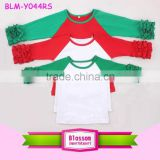 2016 Wholesale Baby Ruffle Sleeve Raglan Shirts Kids Christmas custom cheap o-neck 3/4 green sleeves red body girl icing t-shirt
